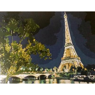 Картина по номеркам на холсте Париж