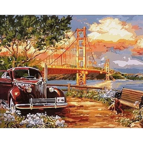 Картина на холсте по номерам. Машина у моста