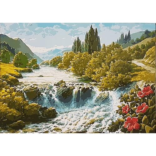 Картина на холсте по номерам. Широкая река