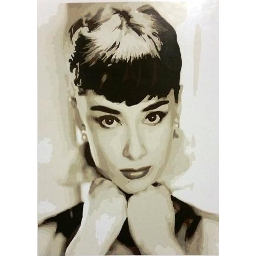 Картина на холсте по номерам. Одри Хепберн