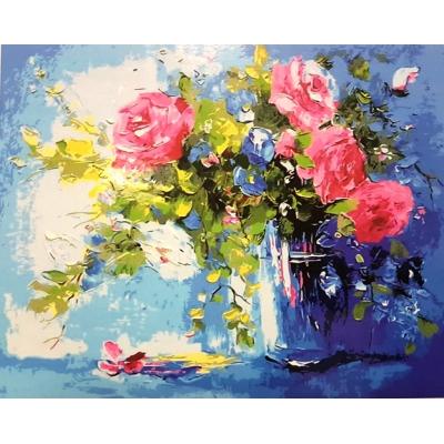 Картина на холсте по номерам. Цветы на столе