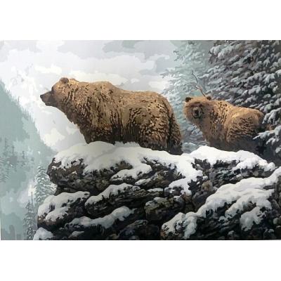 Картина на холсте по номерам. Медведи