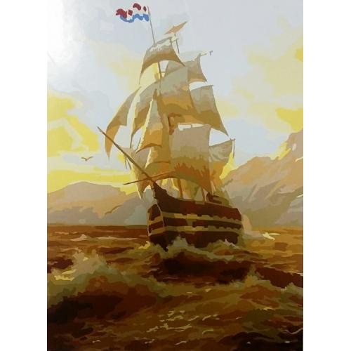 Картина на холсте по номерам. Корабль 2