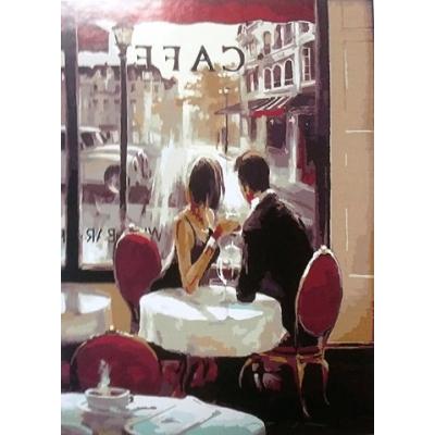 Картина-раскраска по номерам. Парочка в кафе