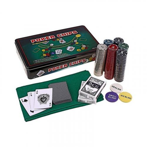 Покер на 300 Фишек в металлической коробке