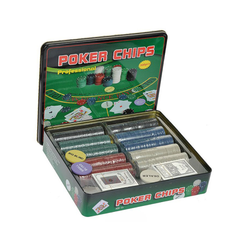 Покер на 500 Фишек в металлической коробке