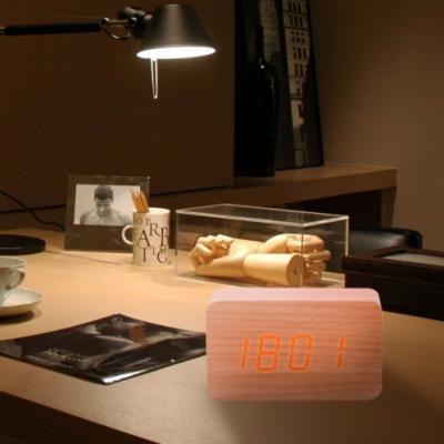 Будильник, часы деревянный куб