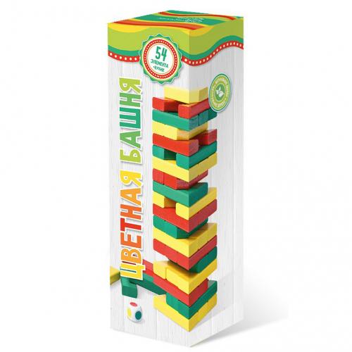 Башня 54 детали цветная (Дженга, Jenga)
