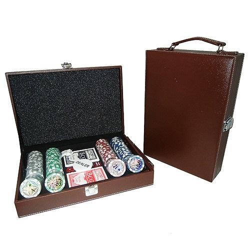 Покер 200 фишек в кожаном кейсе